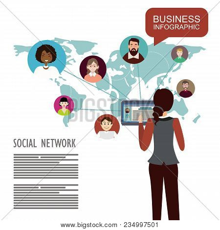 Social Network.global Social Network Abstract Scheme. Concepts For Web Banner And Printed Materials.