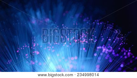Glowing Fiber optics strands light