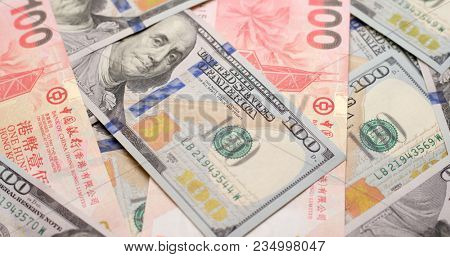 USD and HKD paper banknote