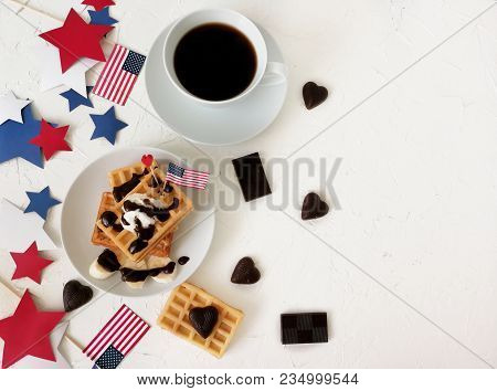 American Independence Day, Celebration, Patriotism And Holidays - Waffles And Coffee With Flags And