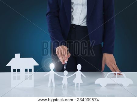 Cut outs of house family and car with woman