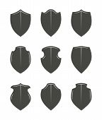 Set of empty black vector shields placeholders. Good copyscpaces for making custom badges or logos. poster