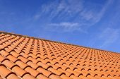 Orange roof tiles made from a ceramic material and the sky above poster