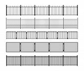 Set of different simple modular metal fence silhouettes. Vertically seamless metal fence elements. Black silhouettes of fencing from construction metal, wrought iron or steel. Vector brushes included. poster