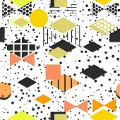 Geometric elements Memphis Postmodern Retro fashion style 80-90s. texture asymmetrical shapes Rhombus triangle Seamless pattern Yellow orange gray black pink background for site fabric. Vector illustration poster