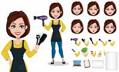 Hairdresser woman in professional uniform. Beautiful lady stylist cartoon character creation set, pack of body parts, emotions, tools and other stuff. Vector illustration poster