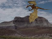 dragon flying over desolate landscape poster