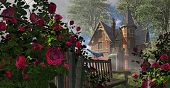 A countryside Victorian mansion with climbing rose covered fence, old bench and blue jay. poster
