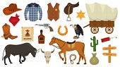 Wild west vector western cowboy or sheriff signs hat or horseshoe in wildlife desert with cactus illustration wildly horse character for rodeo set isolated on white background. poster
