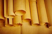 Old aged blank rolled parchments. Antique documents. Vintage manuscripts. Horizontal poster