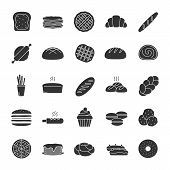 Bakery glyph icons set. Pastry. Confectionery. Bread, buns, cookies, macaron, pancakes. Silhouette symbols. Vector isolated illustration poster