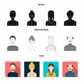 A man with a beard, a businesswoman, a pigtail girl, a bald man with a mustache.Avatar set collection icons in black, flat, monochrome style vector symbol stock illustration . poster