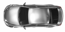 Car Isolated On White - Metal, Tinted Glass - Top View - 3d Rendering