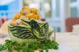 The Fried Chicken In Watermelon Carving Swan.