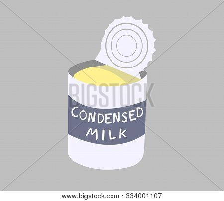 Sweetened Condensed Milk Canned Isolated On Grey Background. Sweetened Condensed Milk Is A Dairy Pro