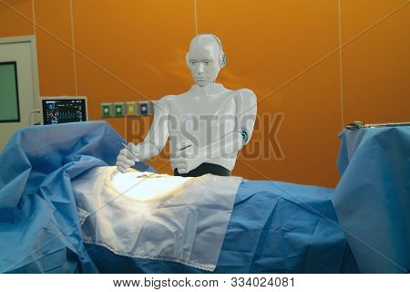 Smart Medical Technology Concept,advanced Robotic Surgery Machine At Hospital, Robotic Surgery Are P