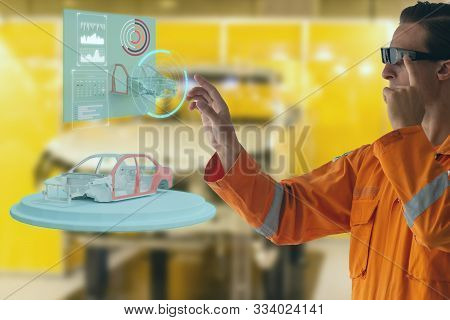 Engineering Try To Use Smart Augmented Mixed Virtual Reality Technology Concept In With Use Artifici