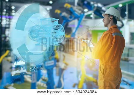 Iot Smart Technology Futuristic In Industry 4.0 Concept, Engineer Use Augmented Mixed Virtual Realit