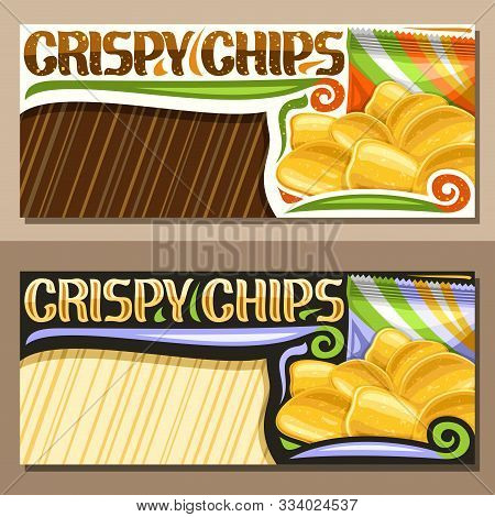 Vector Layouts For Crispy Potato Chips With Copy Space, Decorative Sign Board With Illustration Of H