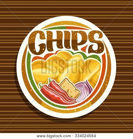 Vector Logo For Potato Chips, Decorative Signage With Illustration Of Heap Crispy Potatoes, Chili Pe