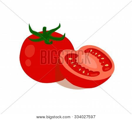 Tomatoes Isolated On White Background. Tomatoes Cut In Half On A White Background.