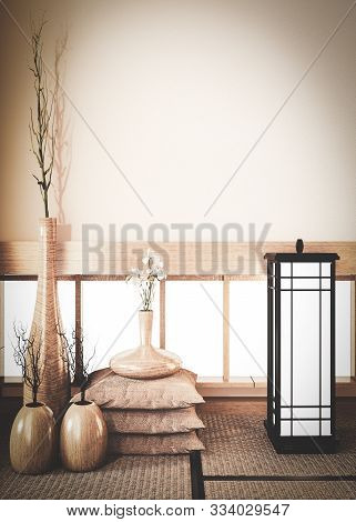 Empty Scene Window Background On Room Old Style, With Plants Vase Wooden Decoration On Tatami Mat Fl