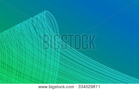 Abstract Beautiful Background With Interlacing Lines On Blue-green Background. Asymmetric Abstractio