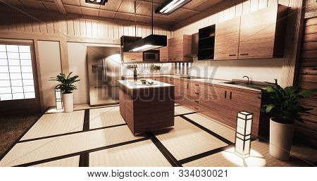 Kitchen Room Japanese Style.3D Rendering