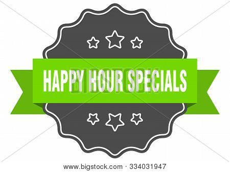 Happy Hour Specials Isolated Seal. Happy Hour Specials Green Label. Happy Hour Specials