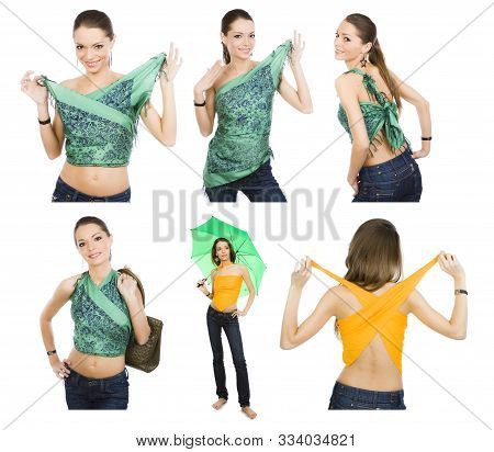 Happy Girl Demonstrates The Options For Using A Neckerchief Like Clothes. 6 In 1
