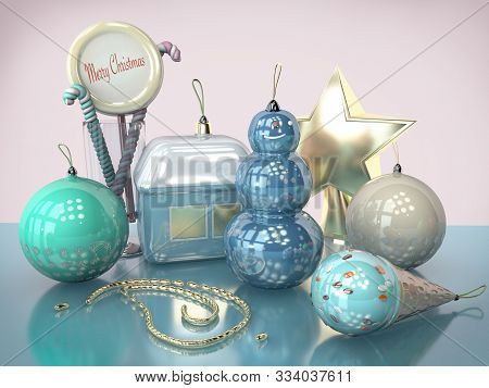 3D Illustration Of Merry Christmas Card With Christmas Tree Toys Snowman Candy Ice Cream Close Up