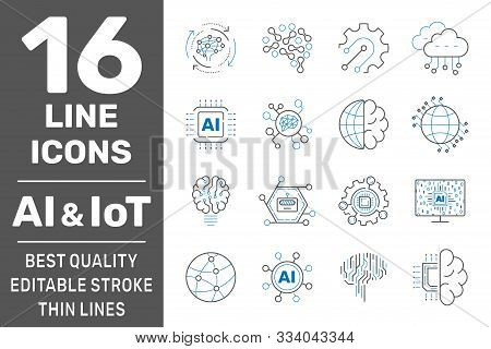 Ai, Iiot, Iot, Cloud Computing, Cognitive Computing Industry 4.0 Icons Set. Cyber Physical Systems C