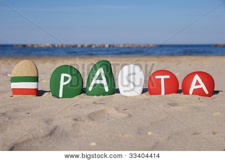 italian pasta, typical food, word on colourful stones
