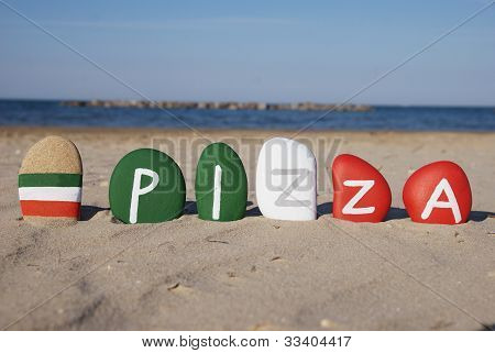 Pizza, italian typical food, word on colourful stones