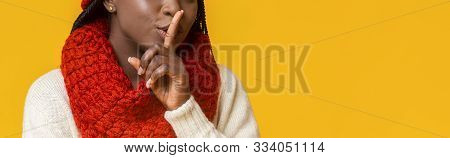 Secret, Mistery, Privacy Concept. Cropped Photo Of Afro Winter Girl Showing Silence Gesture Over Yel