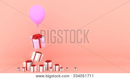 White Gift Box With Red Ribbon And Pink Balloon On Pink Pastel Background.,minimal Christmas And New