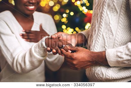 Black Guy Giving Diamond Ring To His Girlfriend For Christmas, Making Proposal
