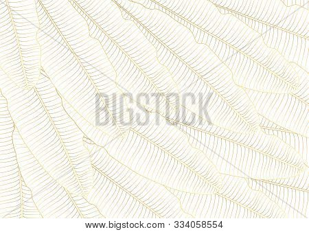 Luxury Gold Leaf Floral Texture Pattern Abstract Background Vector Illustration