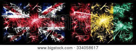 Great Britain, United Kingdom Vs Guinea, Guinean New Year Celebration Travel Sparkling Fireworks Fla