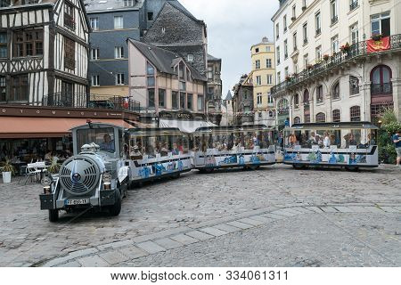 City Tour Train On The Barthelemy Square In The Historic Old City Of Rouen In Normandy