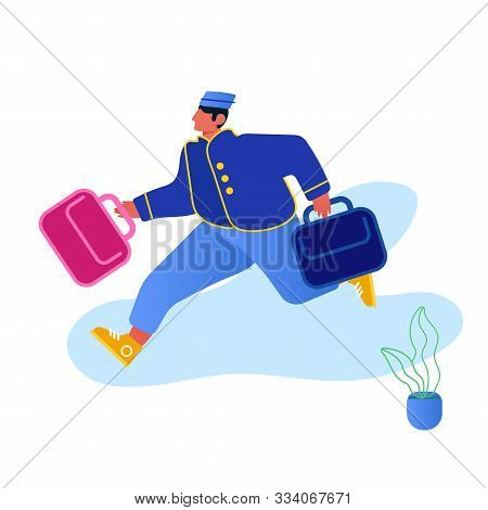 Hotel Hospitality Service Concept. Bell Boy Carrying Suitcases Isolated On White Background. Bellman