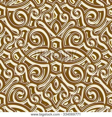 Jewellery Gold Seamless Pattern, Repeating Tile, Vintage Golden Background, Ornamental Brocade Textu