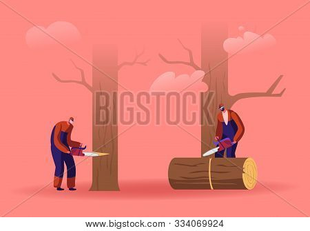 Two Men Loggers Sawing Logs And Trees In Forest. Wood Industry Workers With Saw In Hands Working. Lu