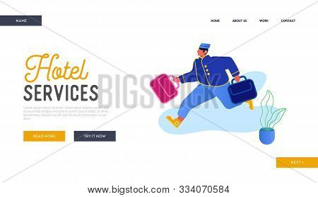Hotel Hospitality Service Website Landing Page. Bell Boy Carrying Suitcases. Bellman Male Hotel Work
