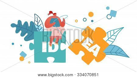 Creative Idea Concept. Woman Sitting On Huge Jigsaw Puzzle Element Pulling Another Part To Set Up Co