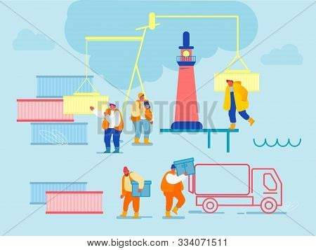Global Maritime Logistic. Shipping Port With Harbor Crane Loading Containers To Marine Freight Boat.