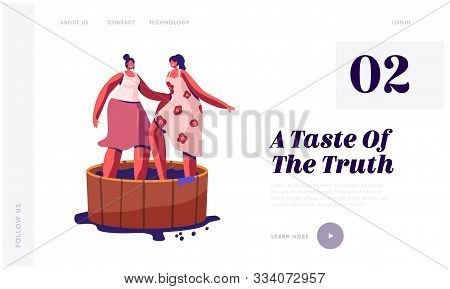 Winemaking Process, Harvest Festival Website Landing Page. Happy Smiling Women Stomping Grapes In Wo