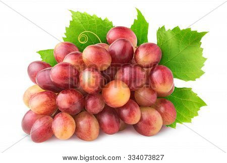 Isolated Grapes. Cluster Of Pink Grape With Leaves Isolated On White Background With Clipping Path