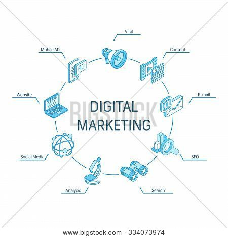 Digital Marketing Isometric Concept. Connected Line 3d Icons. Integrated Circle Infographic Design S