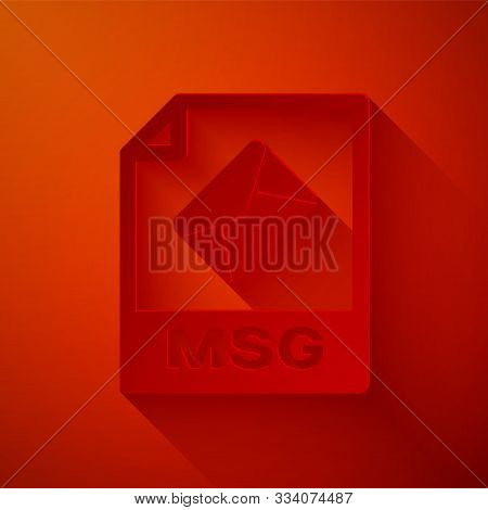 Paper Cut Msg File Document. Download Msg Button Icon Isolated On Red Background. Msg File Symbol. P